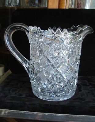 1880's Ornately Faceted Star Pinwheel EAPG Pattern Glass Beverage Water Pitcher