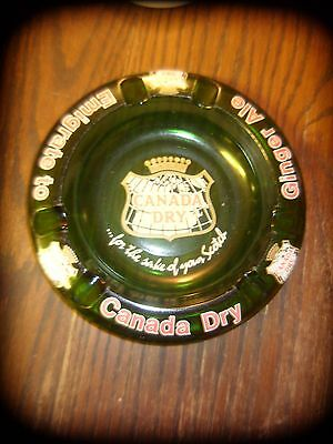 Canada Dry Ginger Ale Green Glass Ashtray