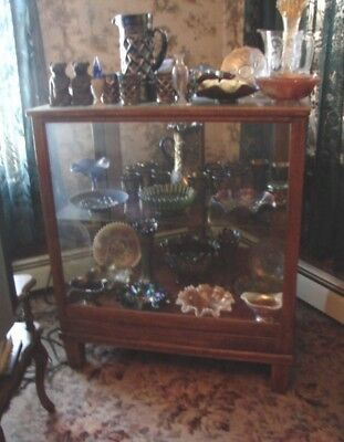 Antique Storefront Shop Small Oak/Glass Display Case 2 Doors w/1 Glass Shelf