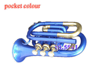 Pocket Trumpet Blue Colored Bb Pitch W/case&mp Nice Fully Brass Made Cornetindia