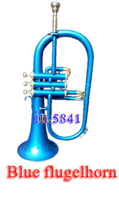 Flugel-Horn-Blue-New-Brand-Bb-Pitch-W-Case-Mp-Great-Sound-Baritone Nice Flugle//