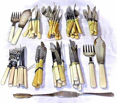 74 Pieces Of Vintage Cutlery Forks  / Dessert Fish Knives  Faux Bone Sheffield