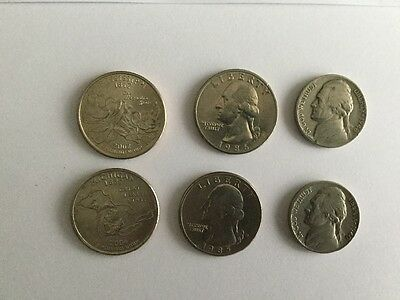 Coin Collection - USA Nickels 1940 48 Mississippi P 2002 Michigan D 2004 Quarter