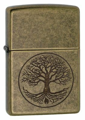 Genuine Zippo Tree of Life Windproof Refillable Petrol Lighter - Antique Brass