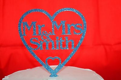New GLITTER PERSONALISED Mr & Mrs Wedding Cake Toppers in a Heart Many Colours