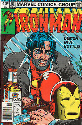 Iron Man #128 - Classic Cover! Demon In A Bottle! - (Grade 7.5) 1979
