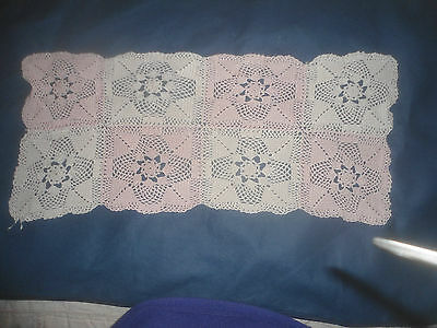"A Pretty Pink And White Crochet Table Runner 24"" X 10.5"""