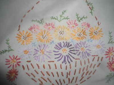 "GORGEOUS WHITE LINEN HAND EMBROIDERED TABLECLOTH 38.5"" x 37"" CROCHET  EDGE"