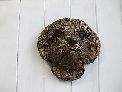 Large Bronzed Stone Shih Tzu  Dogs Head  Wall Sculpture