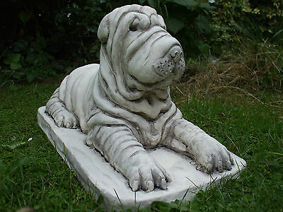Big Laying Young Sharpei Shar Pei Puppy Dogs  Stone  Statue