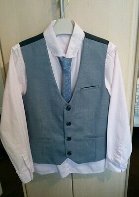 next shirt,  waistcoat and tie age 11 years worn for two hours only