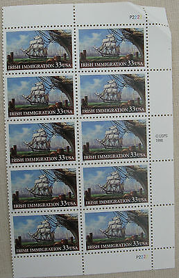 Irish Immigration. 1 part sheet  of 10  .33 cent USA Stamps.