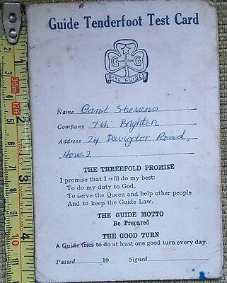 Old Girl Guide Tenderfoot Test Card
