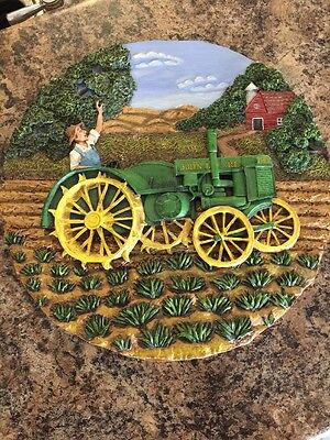 Circular John Deere Wall Hanging Picture Of Tractor (no reserve)