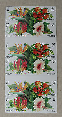 Tropical Flowers 20 x 33c Self Adhesive Stamps 4 designs,  booklet. 1998 USPS
