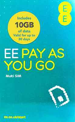 EE 4G Mobile Broadband PAYG Multi SIM Card. Preloaded With 10GB Data for 30 Days