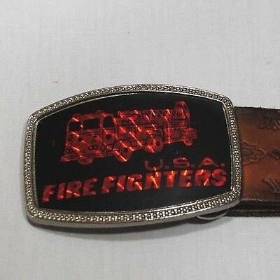 Usa Firefighters Black/red Buckle And Brown Belt 34""