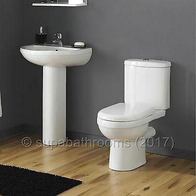 Ivo 4 Piece Bathroom Modern Suite Toilet WC Basin, Pedestal, Seat