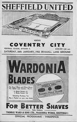 Sheffield United v Coventry City programme 26th January 1952