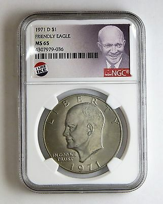 1971 D Friendly Eagle Eisenhower Dollar NGC MS 65 Exclusive Ike Label!