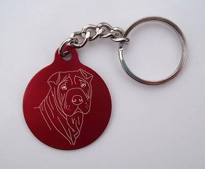 Laser-Etched Shar-Pei Key Chain