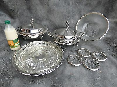 A Lovely Set Of Silver Plated Serving Dishes,frosted Fruit Bowl & Four Coasters
