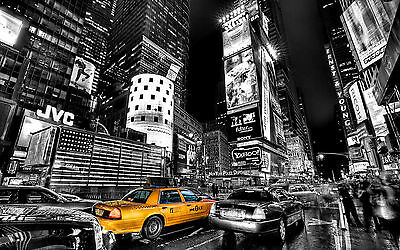 NEW YORK CITY NIGHT BLACK AND WHITE Large Wall Canvas Print 20x30 Inch
