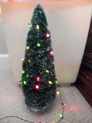 "Department 56 Frosted Sisal Tree 10.5"" with 45 LED Colored Light Strand"