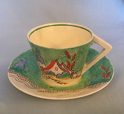 "Clarice Cliff ""Chalet"" Conical Cup & Saucer C.1936"