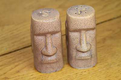 VTG MCM Mid Century Easter Island Moai Salt and Pepper Shakers ceramic