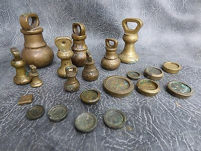 A Good Selection Of Old Brass Shop Scale Weights And Apothecary Scale Weights