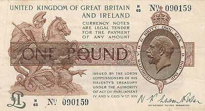 T24 Warren Fisher treasury note £1 one pound gVF 30.9.1919