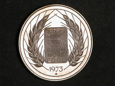 INDIA 1973B 10 Rupees FAO Silver Choice Proof