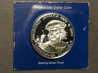 JAMAICA 1975 $10 Christopher Columbus Silver Choice Proof in Cardboard Holder