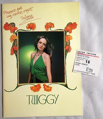 Twiggy - 1977 - Please Get My Name Right Tour Programme - With Ticket Stub