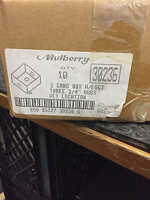 "Box Of 10 Mulberry 30236 Outlet Box 30.5 Cubic Inch Cap Three 3/4"" I.p.s Hole"