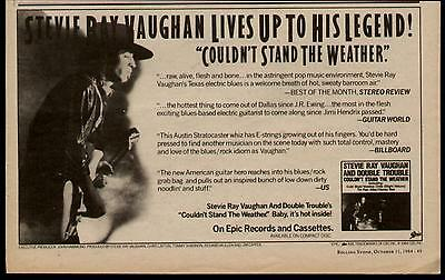 """1984 Stevie Ray Vaughan & Double Trouble """"couldn't Stand Ythe Weather"""" Album Ad"""