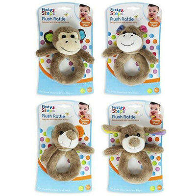 First Steps Baby Toys Rattle Neck Support Pillow Animal Themed - 3 Choices