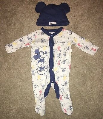 Mothercare Disney Mickey Mouse Babygrow And Hat Set Newborn - 1 Month
