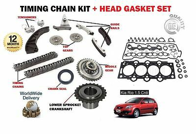 For Kia Rio 1.5 Crdi D4Fa 2005-2010 New Timing Chain Kit + Head Gasket Set
