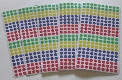 """1000 Color Coded Labels 1/4"""" Dots Assorted Color Stickers Labels Cmy Other Items"""