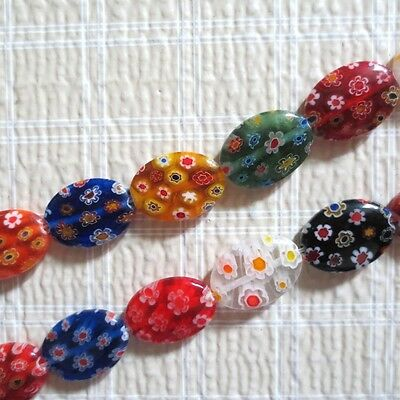 Millefiori Lampwork Glass Beads Assorted Oval 18Mm 15""