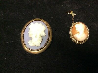 Two Vintage Antique Cameo Brooches Gold Coloured Metal Pretty