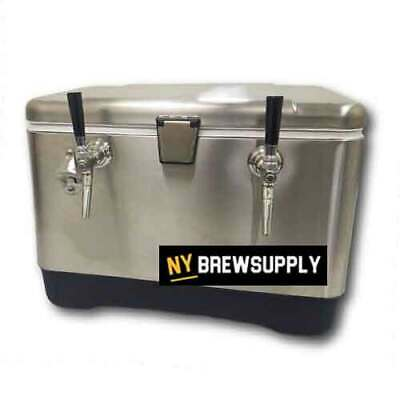 NY Brew Supply Stainless Steel Jockey Box Cooler - 54 Quart, 2 Faucet, 75' Coils