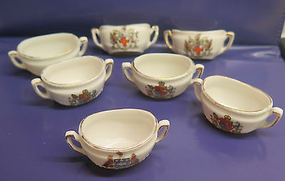"""7  Miniature Crested Ware Two Handled Pots  - 2"""""""