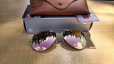 Ray-Ban Aviator Sunglasses  RB3025 019/Z2 58 Silver Frame Copper Lens Authentic