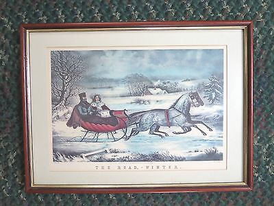 "Antique Currier Lithograph; 1853, "" The Road - Winter"""