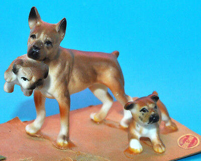 Vtg BOXER DOG FIGURINE Mom Puppies BONE CHINA Miniature JAPAN with Babies Puppy