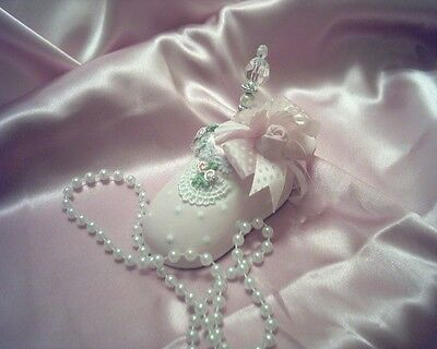 Shabby Victorian~Cottage~Mini BABY Shoe Pin Cushion~PINK~Lace~Roses~OOAK