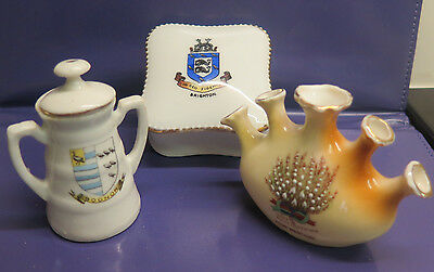 3 Miniature Crested Ware Pieces